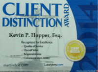 Kevin Client Distinction Award